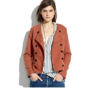Madewell rust motorcycle jacket double button sz.M